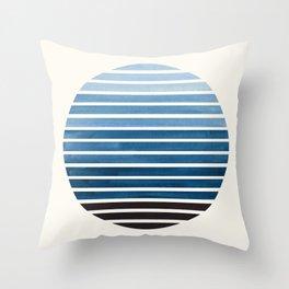 Green Blue Mid Century Modern Minimalist Scandinavian Colorful Stripes Geometric Pattern Round Circl Throw Pillow