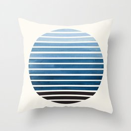 Green Blue Mid Century Modern Minimalist Scandinavian Colorful Stripes Geometric Pattern Round Circl Throw Pillow