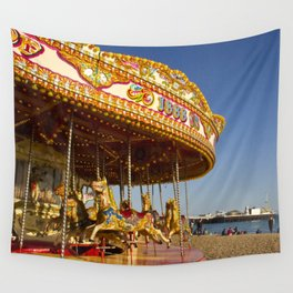 Golden Carousel at the Beach Wall Tapestry