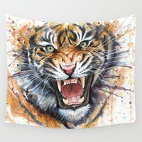tiger Wall Tapestries featuring Tiger by Olechka