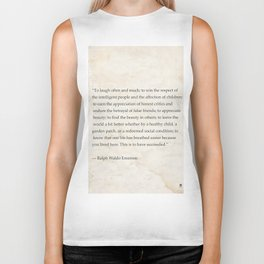 """To laugh often and much; to win...Ralph Waldo Emerson Biker Tank"