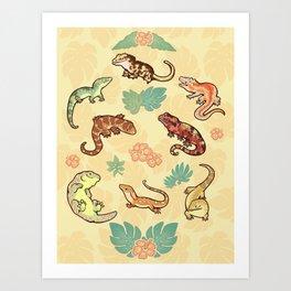 Gecko family in yellow Art Print