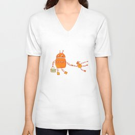 Robomama Robot Mother And Child Unisex V-Neck