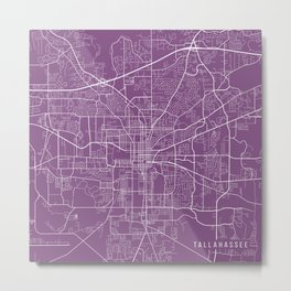 Tallahassee Map, USA - Purple Metal Print