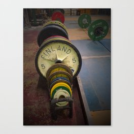 vintage weight lifting plates Canvas Print