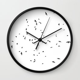 The Black Birds (Black and White) Wall Clock
