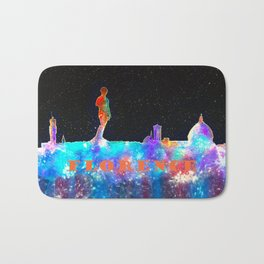 Florence Italy Skyline - With Lower Banner Bath Mat