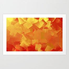 Cubism in orange Art Print