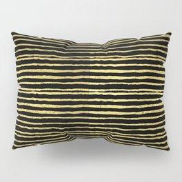 Gold and black stripes minimal modern painted abstract painting minimalist decor nursery Pillow Sham