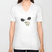 sheep V-neck T-shirts featuring Sheep by sheena hisiro