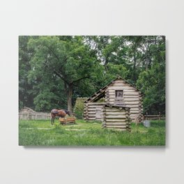 A horse in front of an old farm house Metal Print