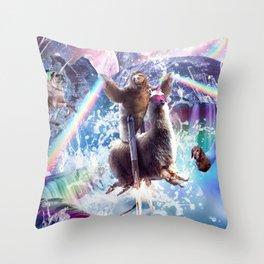 Rainbow Laser Sloth On Llama Unicorn In Space Throw Pillow