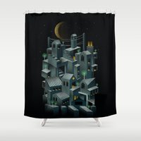 city Shower Curtains featuring The City by dan elijah g. fajardo