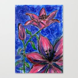 Pink Lilies Charcoal Acrylic Painting Canvas Print