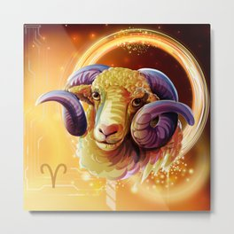 Horoscope Signs-Aries Metal Print