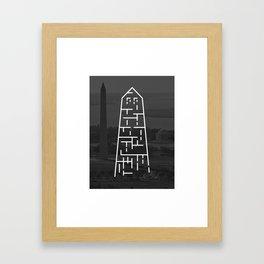 Washington Monument DC Illustration & black and white Photography Framed Art Print