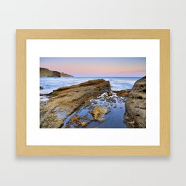 """Volcanic sea at pink sunset"" Framed Art Print"