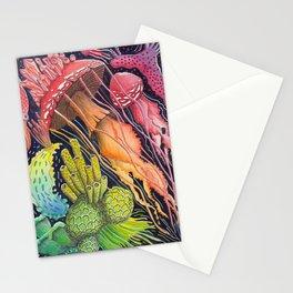 Mushroom Jellyfish Illustration -Rainbow Ocean Stationery Cards