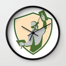 Plasterer Masonry Trowel Shield Retro Wall Clock