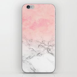 Modern blush pink watercolor ombre white marble iPhone Skin