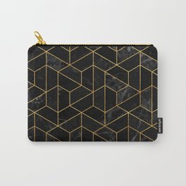 Black Marble Hexagonal Pattern Carry-All Pouch