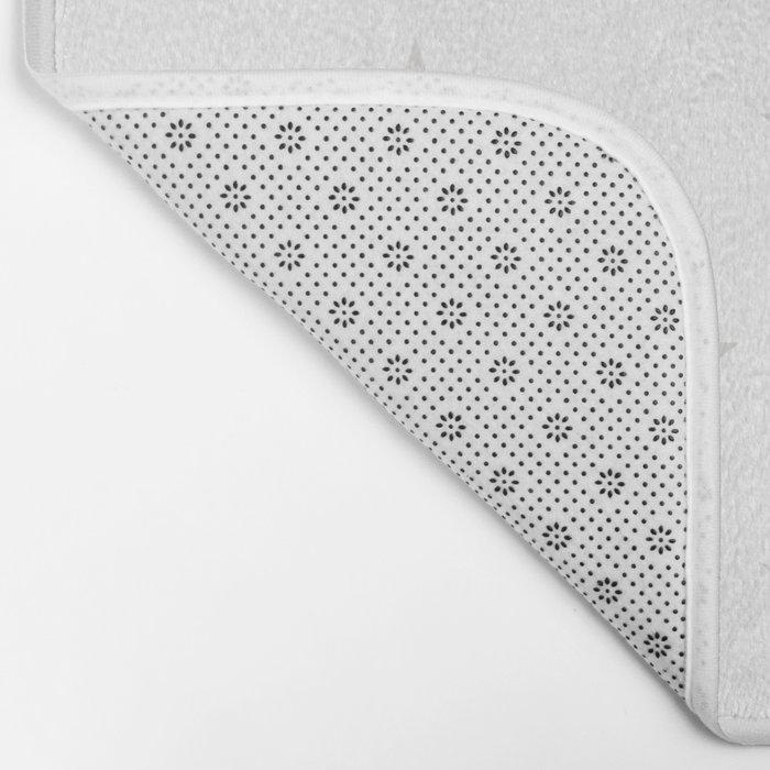 Stars (Platinum/White) Bath Mat