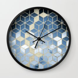 Shades Of Blue Cubes Pattern Wall Clock