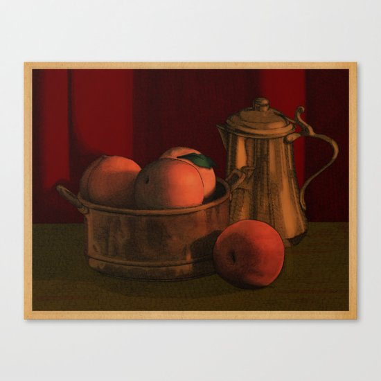 Still life with peaches Canvas Print