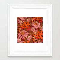 50s Framed Art Prints featuring Crazy pinks 50s Flower  by Follow The White Rabbit