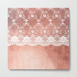 White floral luxury lace on pink rosegold grunge backround Metal Print