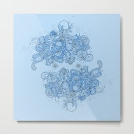 Blue floral swirls Metal Print