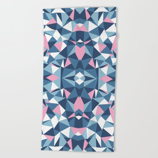 Abstract Collide Blue and Pink Beach Towel