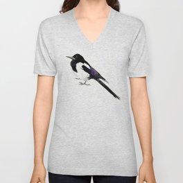 Magpie, bird art, minimalist magpie bird painting Unisex V-Neck