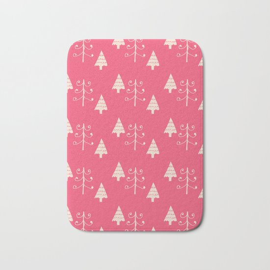 Christmas tree pink Bath Mat