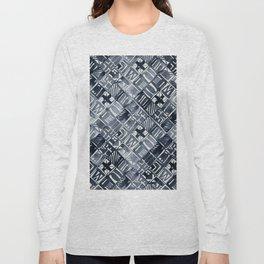 Simply Tribal Tiles in Indigo Blue on Lunar Gray Long Sleeve T-shirt