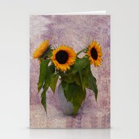 sunflowers Stationery Cards featuring Sunflowers  by Guna Andersone & Mario Raats - G&M Studi