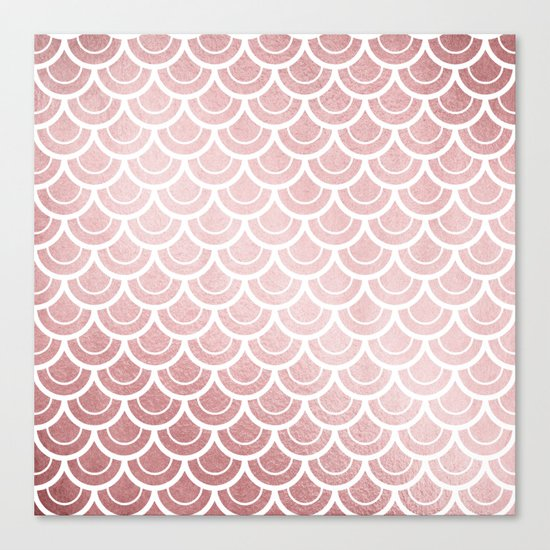 Simply Mermaid in Rose Gold Sunset Canvas Print