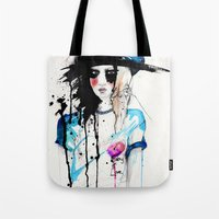 friday Tote Bags featuring Friday by Holly Sharpe