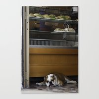 english bulldog Canvas Prints featuring English Bulldog by sovichka