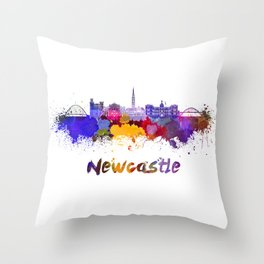 Newcastle skyline in watercolor Throw Pillow