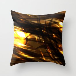 Saturated copper and smooth sparkling lines of black tapes on the theme of space and abstraction. Throw Pillow