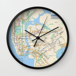 New York City Metro Subway Map Wall Clock