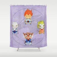 thundercats Shower Curtains featuring A Boy - A Girl - Thundercats by Christophe Chiozzi