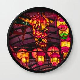 Dragon lanterns at Nagasaki Lantern Festival | Neon Japan Wall Clock