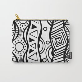 Four Waves - Freestyle Tribal Doodle Design Carry-All Pouch