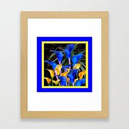 BLUE-BLACK MODERN ABSTRACT BLUE & GOLD CALLA LILIES Framed Art Print