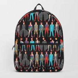 7 Red Heroes Heads Pattern Black Backpack