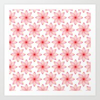 Gradient Strings Blossoms Art Print