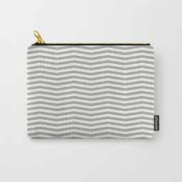 Desert Sage Grey Green and White Chevron Stripe Carry-All Pouch