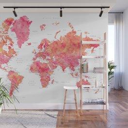 "Explore the world, hot pink watercolor world map, ""Tatiana"" Wall Mural"